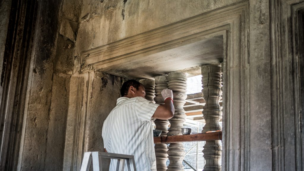 Restoration work at Angkor Wat, Cambodia